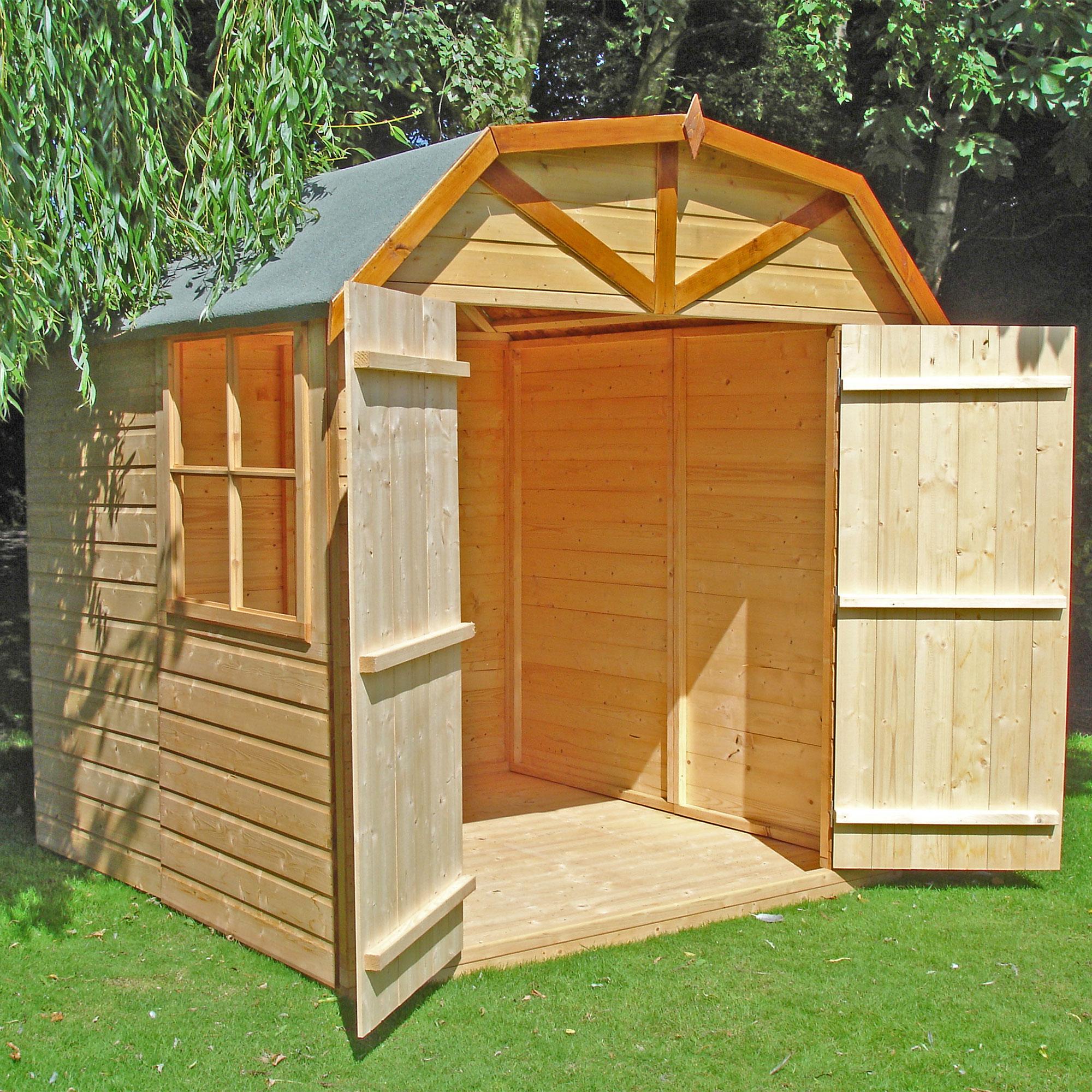 6'9 x 6'6 Shire Barn Double Door Wooden Garden Shed (2.16m ...