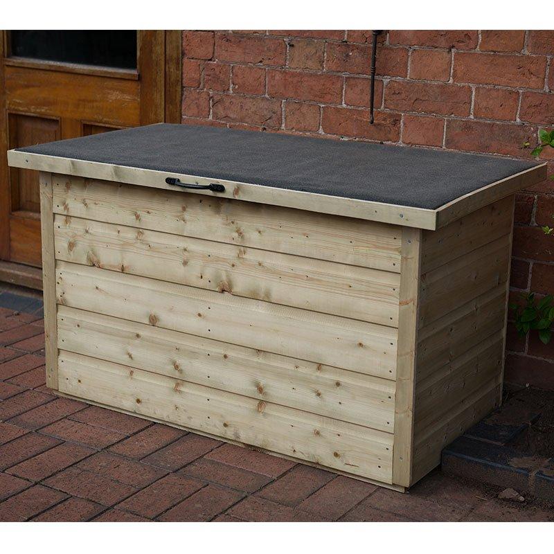 Outdoor Patio Storage Box 1m X 0 55m, Wooden Garden Storage Box Uk